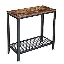 VASAGLE Industrial Side Table, 2-Tier Ni...