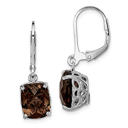 925 Sterling Silver Smoky Quartz Leverback Earrings Lever Back Drop Dangle Fine Jewelry Gifts For Women For Her