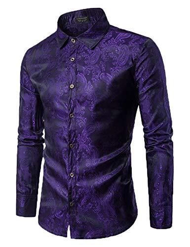 COOFANDY Men's Long Sleeve Satin Luxury Printed Silk Dress Shirt Dance Prom Party Button Down Shirts(Purple,XXL)