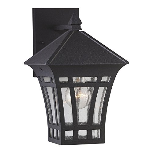 Sea Gull Lighting 88132-12 Herrington One-Light Outdoor Wall Lantern with Clear Seeded Glass Panels, Black (Saving Small Outdoor Post Mount)