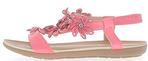 Rosa flache Sandalen mit Blumen und Strass-Dekor