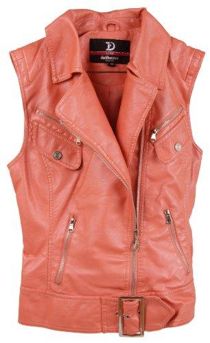 Dollhouse Juniors Metallic PU Imitation Leather Vest Jacket with Belt Detail - Papaya (Large)