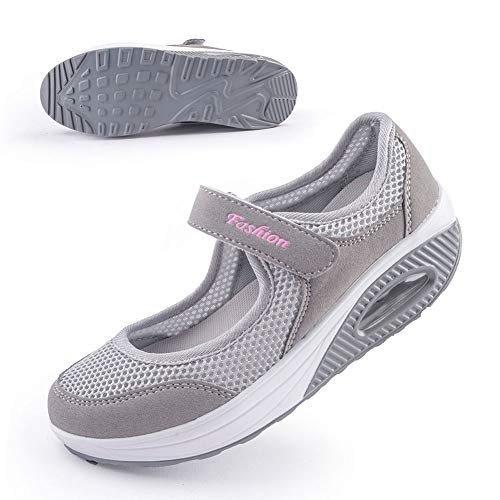 Women's Comfort Working Nurse Shoes Adjustable Breathable Wedges Slip-on Walking Sneaker Fitness Casual Shoes Mary Jane Sneaker41#,Gray (Mary Wedge Jane Shoes)
