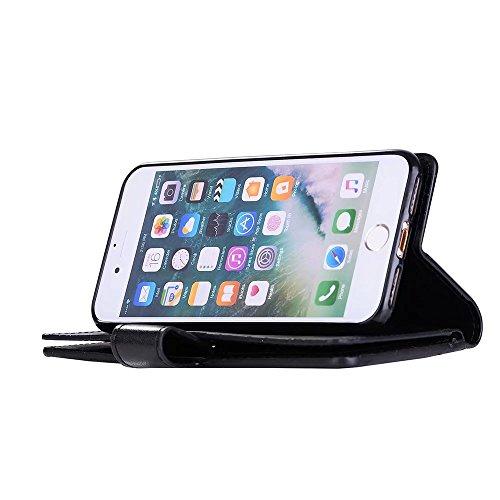JIALUN-carcasa de telefono 9 ranuras de tarjeta de cuero de la PU cubierta de la caja del monedero del soporte del tirón con la cremallera y el acollador y Kickstand para el iPhone 7 ( Color : Purple  Black