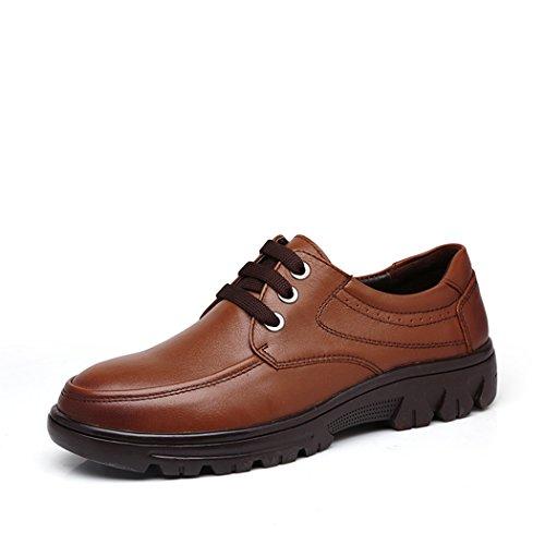 Spades & Clubs Herren Schuhe mit Blockabsatz, glattes Leder, Braun - braun - Größe: 43