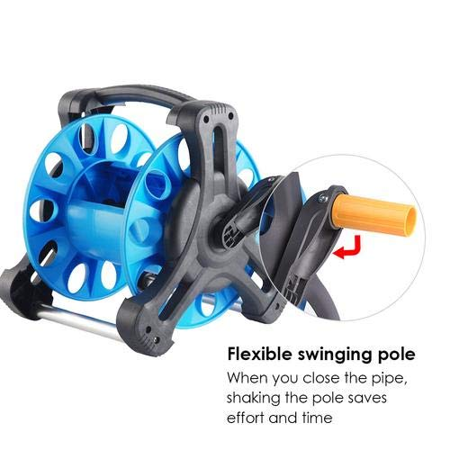 Luerme Garden Hose Reel Stand with Wheels Water Pipe Storage/Rack Hose Reel Cart Wall//Floor Mounted Garden Hose Holder Bracket Garden Hose Reel Swivel Fitting Holds 100 Foot 1//2 Inch Hose