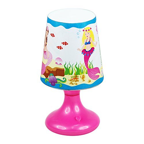 - Pink Poppy Mermaid Under the Sea 4 x 8 Inch Color Changing Cordless Tabletop Lamp