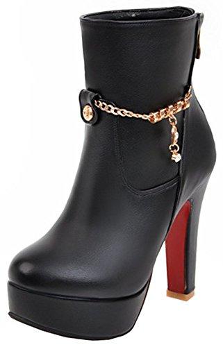 Easemax Women's Elegant Side Zipper High Block Heels Round Toe Ankle High Boots With Platform Black nwZks6CGS