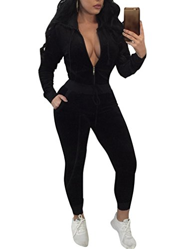 Womens Velvet Two Piece Outfits Hoodies + Pants Traksuits Sweatsuit Black L (Velour Jogging Suit)