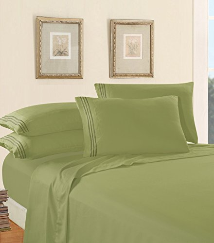 - Luxury Bed Sheet Set on Amazon! Elegant Comfort Three-Line Design 1500 Thread Count Egyptian Quality Wrinkle and Fade Resistant 3-Piece Bed Sheet set, Deep Pocket, Twin/Twin XL, Sage/Green