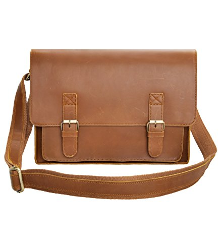 Leather Messenger Bag ZLYC 15.6 Inch Macbook Laptop Bag Vintage Briefcase Men Shoulder Bag Crossbody Satchel, Brown by ZLYC