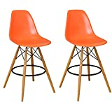 Mod Made Mid Century Modern Armless Paris Tower Barstool Chair with Natural Wood Legs for Bar or Kitchen- Orange (Set of 2)