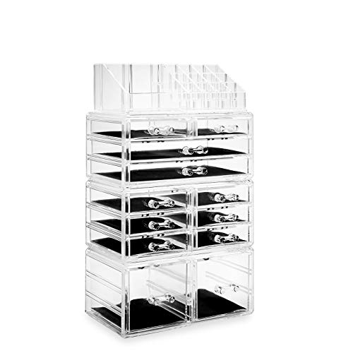 Casafield Acrylic Cosmetic Makeup Organizer & Jewelry Storage Display Case - Large 16 Slot, 2 Box & 10 Drawer Set - Clear