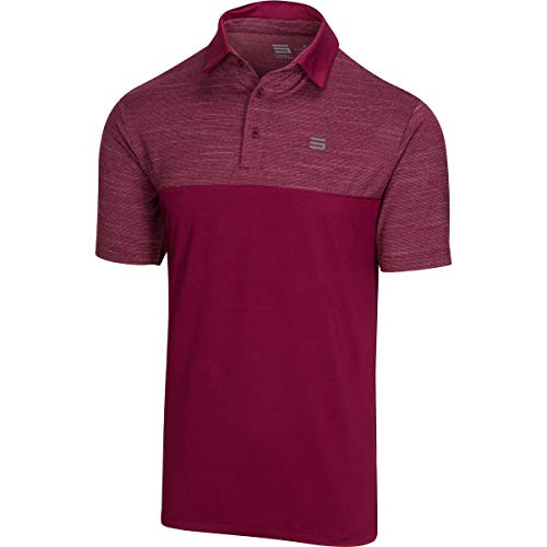 Three Sixty Six Dri-Fit Golf Shirts for Men - Moisture Wicking Short-Sleeve Polo Shirt Maroon (Best Moisture Wicking Golf Shirts)