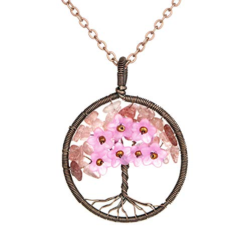Family Tree Strawberry Quartz Leaf with Plastic Flowers Health Healing Floral Pendant Necklace Tree Wire Wrapped Jewelry Love Gift