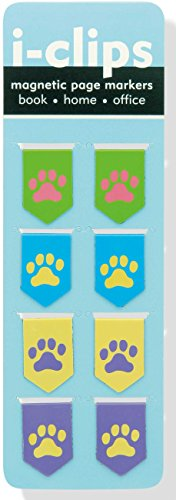 Pawprints i-clips Magnetic Page Markers (Set of 8 Magnetic Bookmarks)