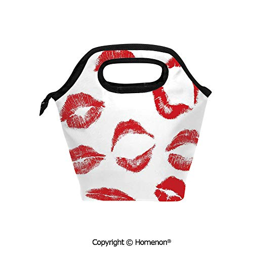 Insulated Neoprene Soft Lunch Bag Tote Handbag lunchbox,3d prited with Various Different Marks in Red Woman Seduction Lipstick Trace Worn Grunge Look,For School work Office Kids Lunch Box & Food Conta