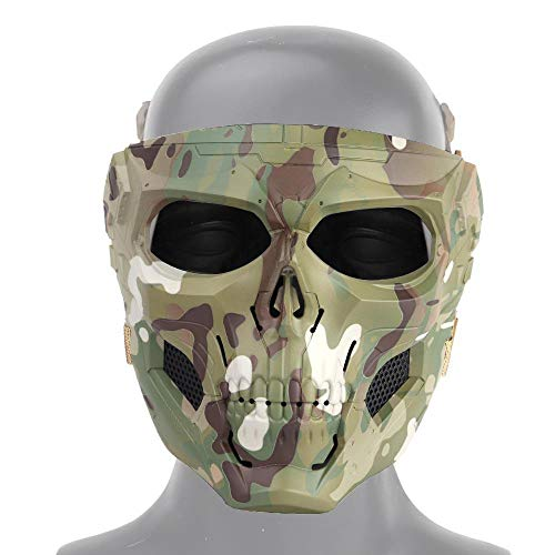 DokFin Tactical CS Mask, Skull Face Protection Mask for Airsoft/Paintball/BB Gun/CS Game/Hunting/Shooting, Scary Helmet for Halloween, Cosplay, Costume Party, Play Trick and Movie Prop ()