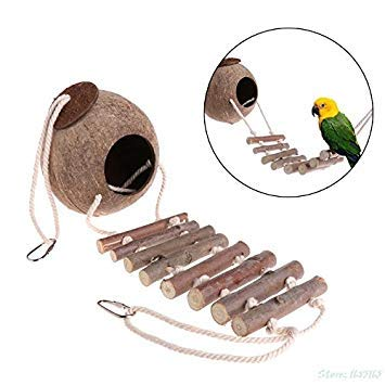 1PC Bird Parred Toy Nest Hut Cage Natural Coco Hideaway with Ladder