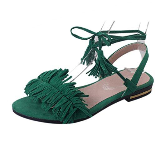 Sannysis sandalias mujer planas romanas, Zapatos de tacón bajo con borla (39cm, rojo) Verde