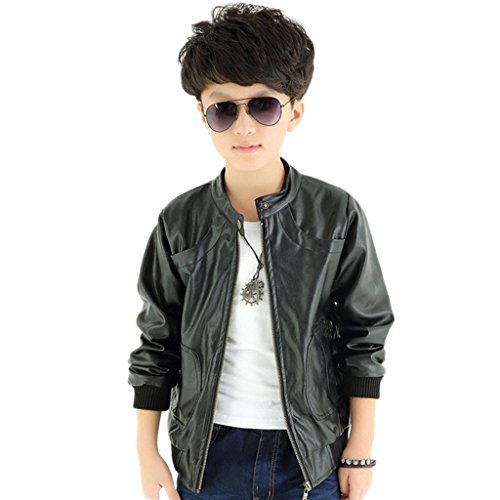 GETUBACK Boy's Fit Short Faux Leather Jacket with Pocket 8T Black Thin ()
