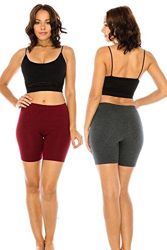 The Classic Women's Stretch Cotton Jersey Bike Yoga Workout Shorts S to 3XL Plus (Small, BURCHAR)
