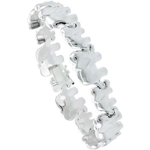 Stampato Elephant (Sterling Silver Stampato 8 in. Elephant Link Bracelet , 1/2 in. (13mm) wide)