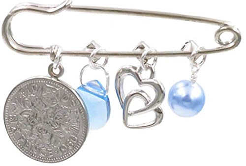 Better Than Buttons Light Blue Simulated Pearl, Double Heart, Blue Crystal, and Six Pence Bridal Pin by Better Than Buttons (Image #1)