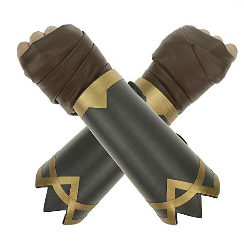 Coolcoco Adjustable Leather Bracelet And Brown Hand Wrap for Lady Girls Kids Cosplay Prime (2 Pieces/Set)]()