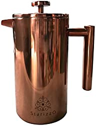 French Press Coffee Maker With Beautiful Copper Finish, Premium Insulated Stainless Steel, Closing Lid Spout Feature For Very High Heat Retention, 34 oz, Classic Design, Dependable Quality made by CopperCrate Products