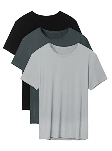 Bamboo Mens Short Sleeve Tee - David Archy Men's 3 Pack Bamboo Rayon Undershirts Crew Neck Slim Fit Tees Short Sleeve T-Shirts(L,Black/Charcoal/Gray)