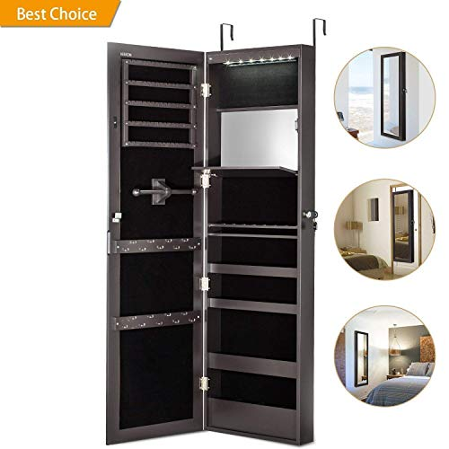 Jewelry Cabinet Armoire with Mirror Led Light Wall Door Mounted Organizer Storage,Brown
