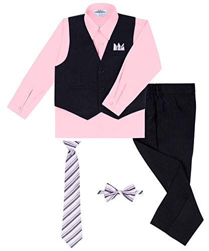 Boy's Vest and Pant Set, Includes Shirt, Tie and Hanky - Black/Pink, 12 ()
