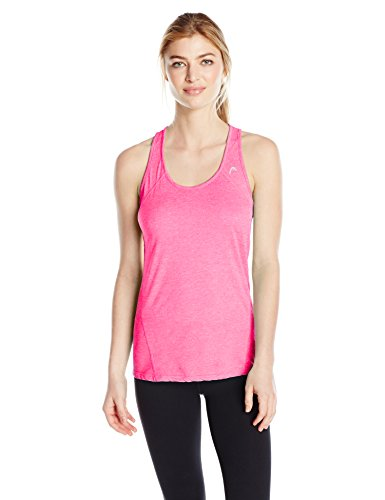 HEAD Women's Mesh Cycle Tank, Knockout Pink Heather, M - Head Tennis Apparel