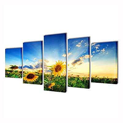 "K&A Company Poster, Print, Visual Artwork, Canvas Wall Print Set Sunflower 79"" x 39"""