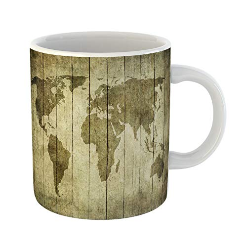 Emvency Funny Coffee Mug Rustic Vintage Map of the World Over Wooden Abstract 11 Oz Ceramic Coffee Mug Tea Cup Best Gift Or Souvenir -