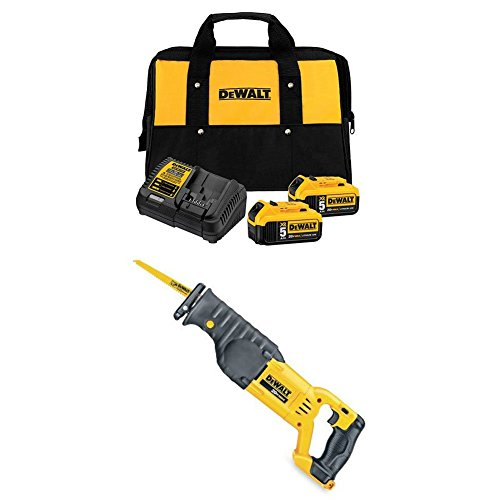 DEWALT DCB205-2CK 20V Max 5.0Ah Starter Kit with 2 Batteries with 20V MAX Reciprocating Saw (Cordless Saw Reciprocating Kit)