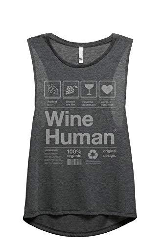 Wine Human Women's Fashion Sleeveless Muscle Tank Top Tee Charcoal Grey 2X-Large
