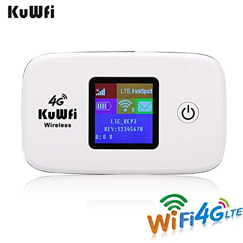 KuWFi Unlocked Travel Partner 4G LTE Wireless 4G Router with SIM Card Slot Support LTE FDD B1/B3 TDD B41 Work with Sprint in US and Europe Caribbean South America Africa Easy to Carry use Outdoor (3g Unlocked Modem Router)