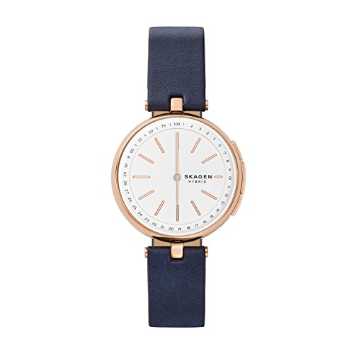 Skagen Connected Women's Signatur T-Bar Stainless Steel and Leather Hybrid Smartwatch, Color:...