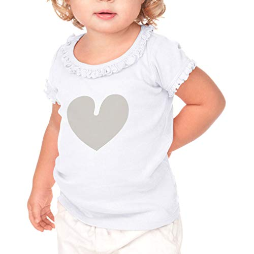 Cute Rascals Light Grey Heart Short Sleeve Toddler Cotton Ruffle Top Tee Sunflower - White, 12 Months
