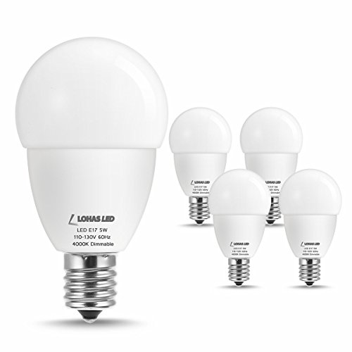 LOHAS E17 LED Bulb Dimmable, 40W E17 Light Bulbs, Globe G45 LED Natural White 4000K A15 5W, 550LM Lighting Table Lamp Bedroom, Kitchen (4 Pack)