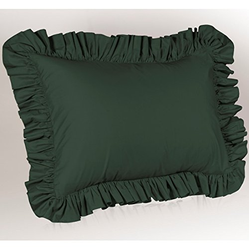 Hunter Green Ruffled Pillow Sham (Hunter Ruffled Bedskirt)