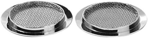 2個入り 耐久性 金属製 スピーカー グリル カバー メッシュが美しい 汎用 シルバー