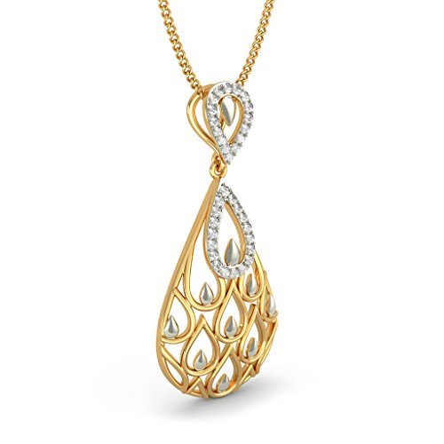 Or jaune 18 K 0.17 CT TW Round-cut-diamond (IJ | SI) Pendentif