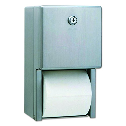 Bobrick Toilet Paper Holder - Bobrick 2888 Stainless Steel 2-Roll Tissue Dispenser, 6 1/16 x 5 15/16 x 11, Stainless Steel