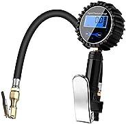 Wakauto Medidor de pressão de pneu, visor LCD digital, testador de inflação, pistola, inflador de pneu para ve