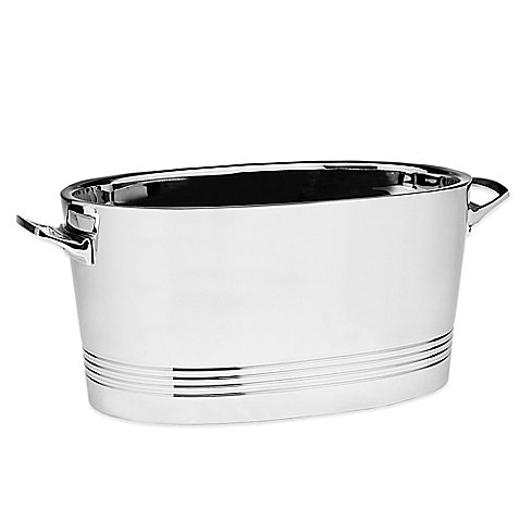 Strong, Durable Top Shelf Silver Stainless Steel Double-wall Cocktail Party Tub by Top Shelf