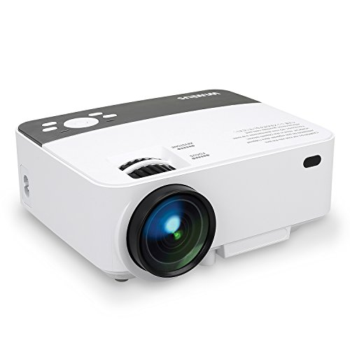 Projector, WiMiUS R1 Mini Video Projector 1800 Lumens Multimedia Home Theater Movie Projector with HDMI Cable, Support 1080P HDMI USB SD Card VGA AV TV Laptop Game iPhone Android Smartphone