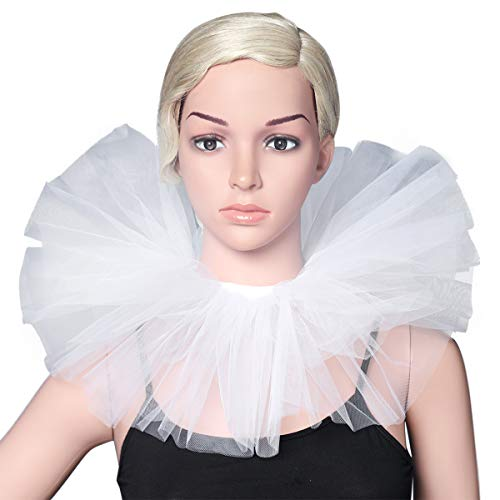 BABEYOND Tulle Ruffled Neck Collar Vintage Mesh Choker Wrap Renaissance Elizabethan Ruffle Layered Collar Scarf for Costume Party (White) -